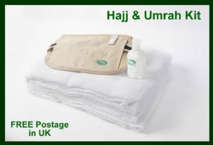 Hajj & Umrah Kit / islamic Cotton Ihram, large Anti-Theft Ihram Belt +FREE Soap